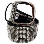 Promoção - Cinto Brilho Strass Black Diamond  - 4 cm - Cintos Exclusivos - Feminino