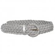 Cinto Trançado de Macramê Prata Metalizado - 4,5 cm - Cintos Exclusivos - Feminino