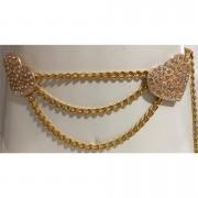 Corrente de Metal Dourado com Strass Coração - Cintos Exclusivos - Feminino