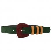 Lançamento - Cinto de Camurça Verde escuro fino com fivela encapada - 3,0- cm