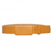 Lançamento - Cinto de Couro amarelo com fivela encapada  - 3cm - Feminino