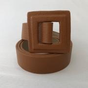 Lançamento - Cinto de Couro Caramelo fino com fivela encapada    - 3,0- cm