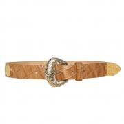 Lançamento - Cinto de Couro com  apliques dourado e prata  de medalha   - 3cm - Feminino