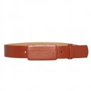 Lançamento - Cinto de Couro laranja com fivela encapada  - 3cm - Feminino