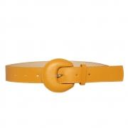 Lançamento - Cinto de Couro Meia Lua Amarelo Encapada  - 3 cm -Cintos Exclusivos VC - Feminino
