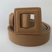 Lançamento - Cinto de Couro Nude fino com fivela encapada    - 3,0- cm
