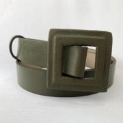 Lançamento - Cinto de Couro Verde fino com fivela encapada    - 3,0- cm