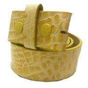 Tira para Cinto de Couro Croco Amarelo - 4cm - Cintos Exclusivos - Feminino