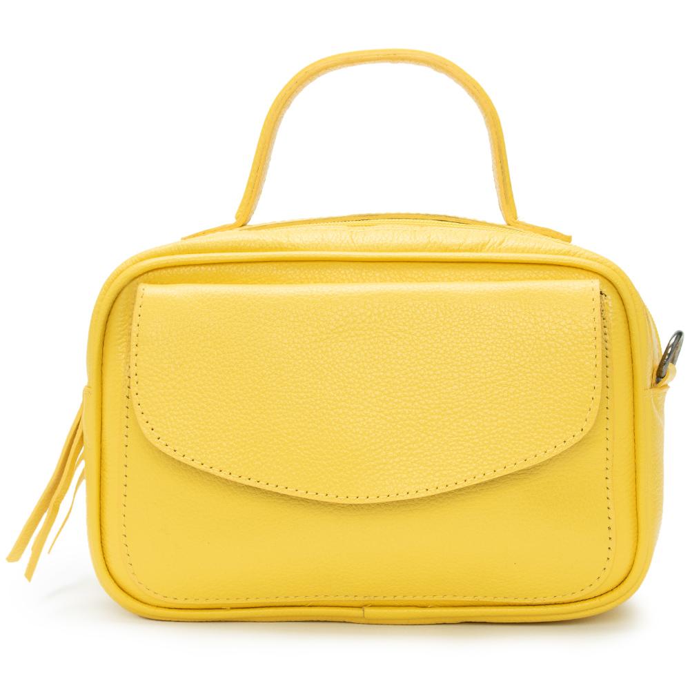 Bolsa Baú de Couro Amarelo - Cintos Exclusivos - Feminino