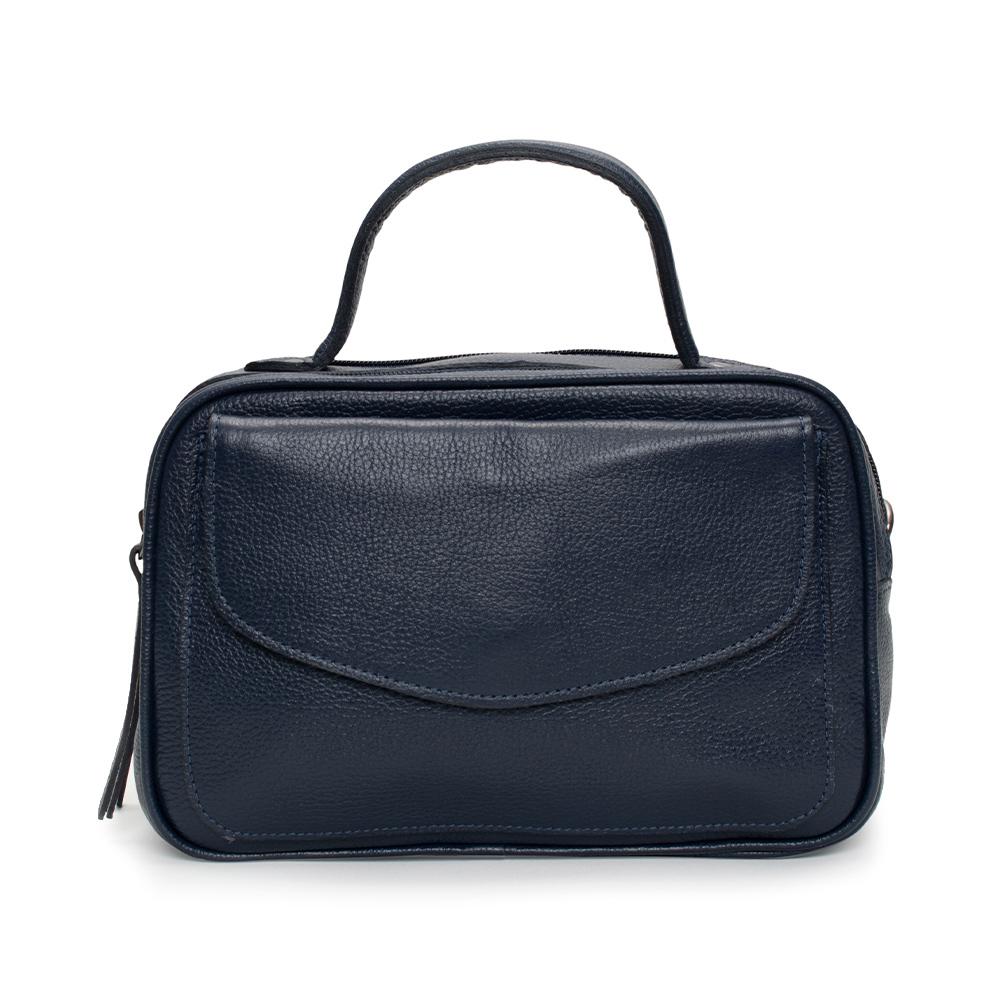 Bolsa Baú de Couro Azul Marinho - Cintos Exclusivos - Feminino