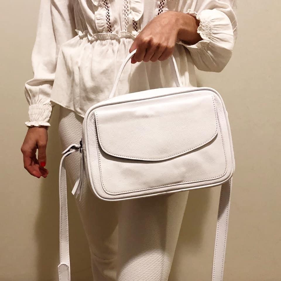 Bolsa Baú de Couro Branca  - Cintos Exclusivos - Feminino