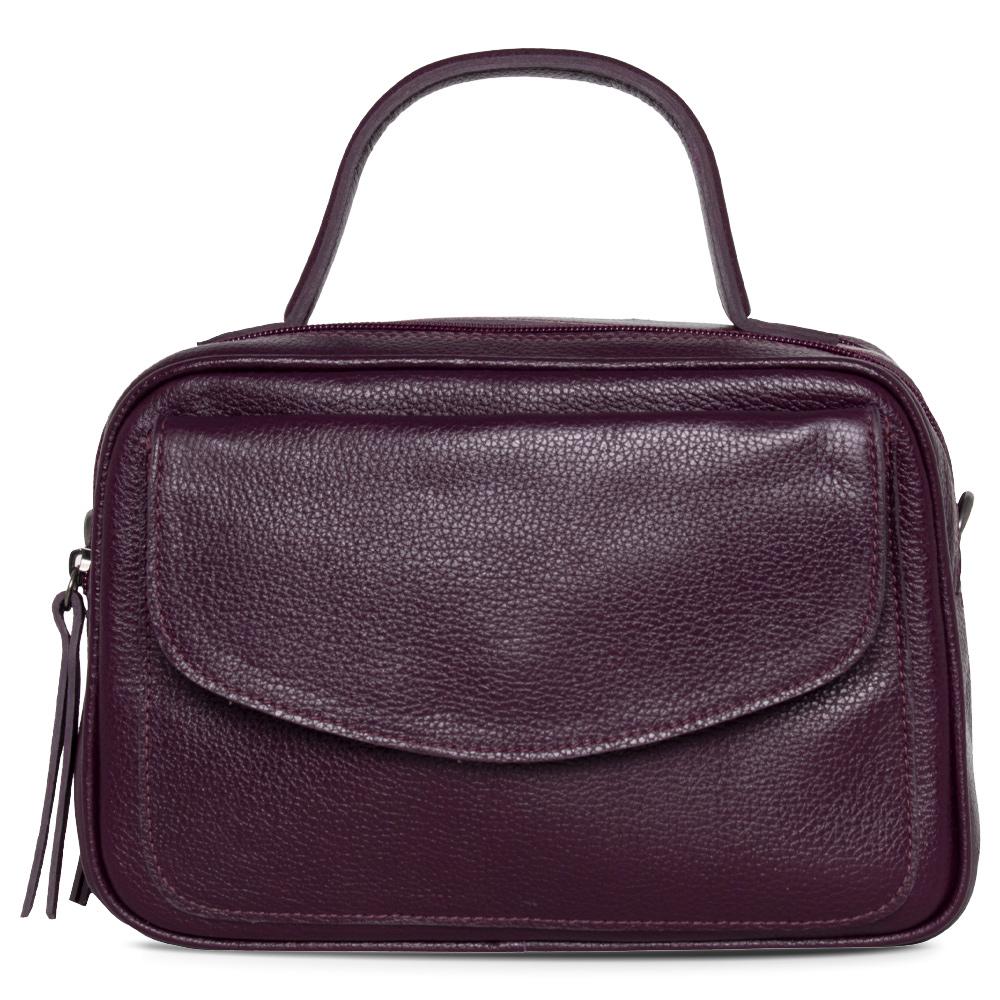 Bolsa Baú de Couro Roxo  - Cintos Exclusivos - Feminino