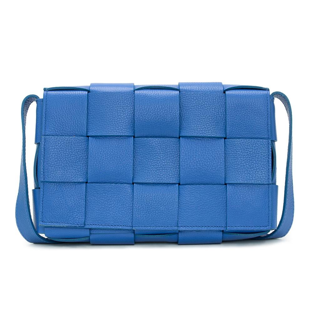 Bolsa Transversal Retangular de Couro Azul Royal - Virgínia Cavalheiro  - Feminino