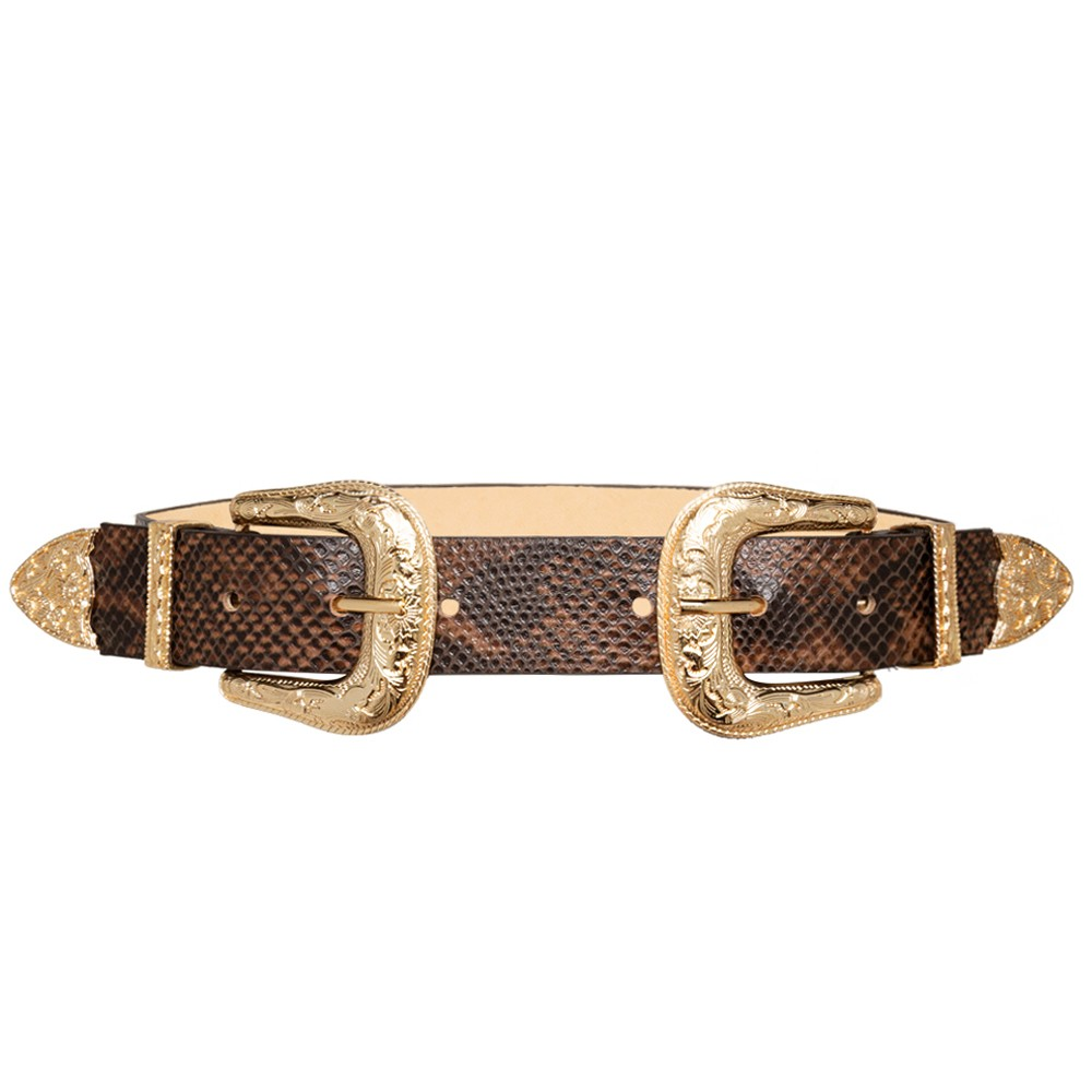 Cinto  Animal Print Cobra de Couro com Duas Fivelas Douradas  Western  - 3,5 cm - Cintos Exclusivos - Feminino