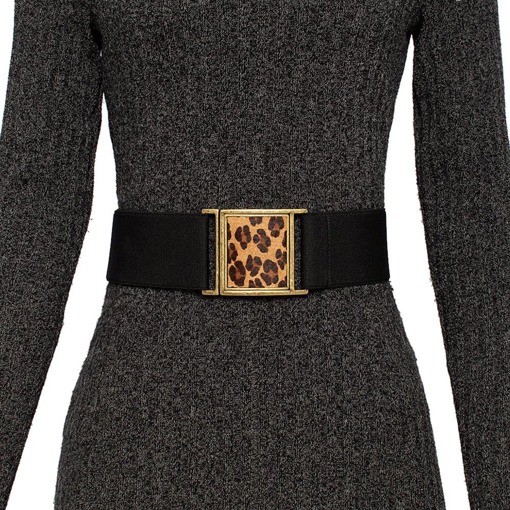Cinto  Animal Print de Elástico Ajustável Preto  com Regulagem e Fivela  Ouro Velho Onça - Cintos Exclusivos - Feminino