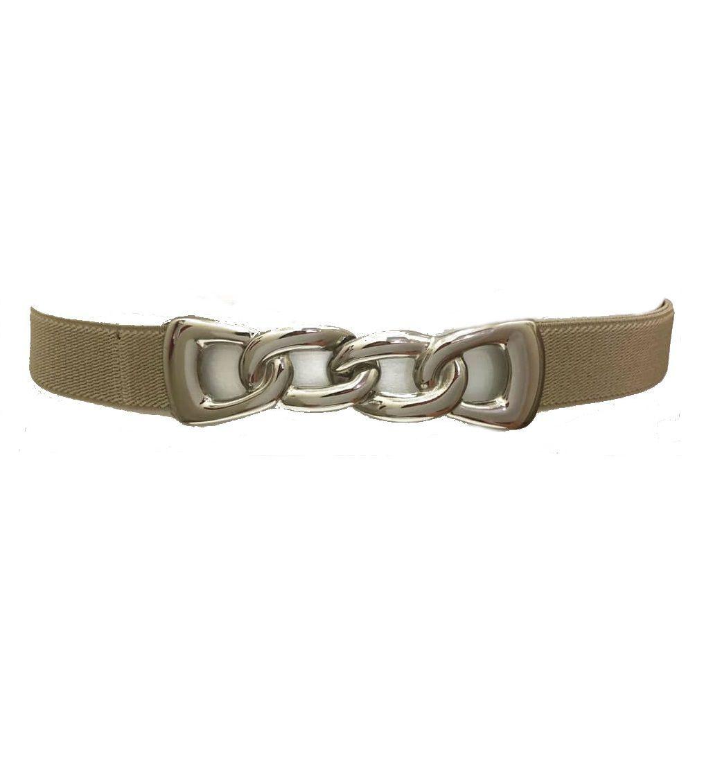 Cinto de Elástico Bege  - Fivela Prata Elos-  Cintos Exclusivos - Feminino