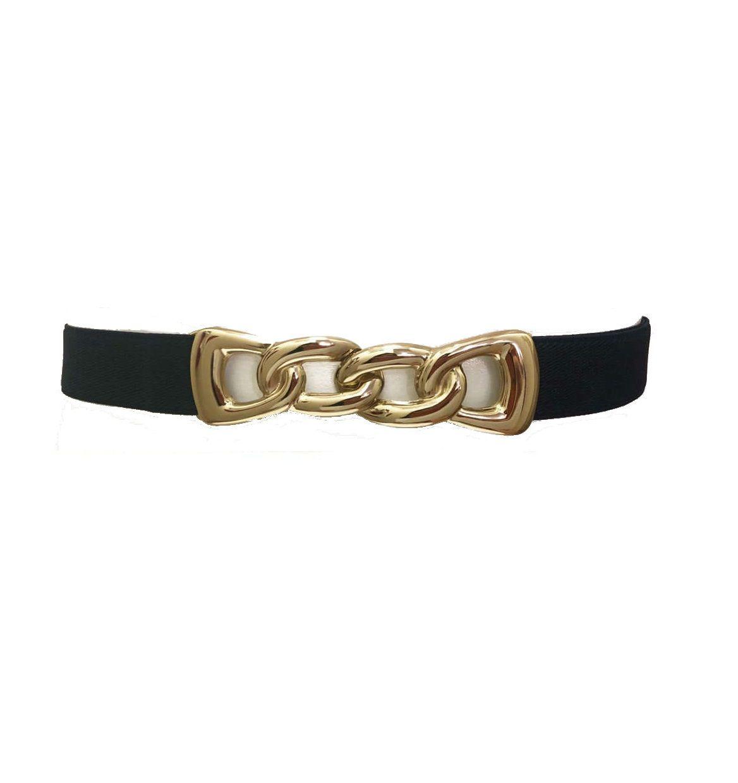 Cinto de Elástico Preto Ajustável - Fivela Ouro- Cintos Exclusivos - Feminino