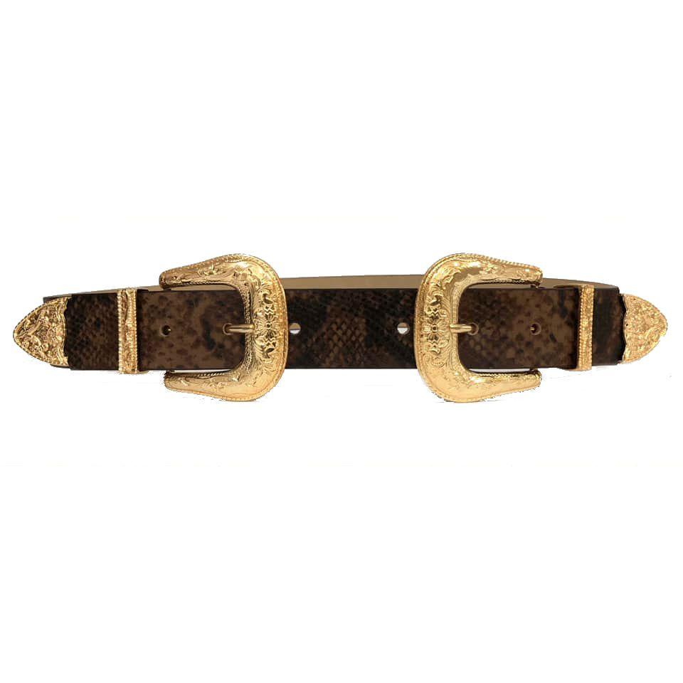 Cinto  Animal Print Cobra de Couro com Duas Fivelas Douradas  - 3,5 cm - Cintos Exclusivos - Feminino