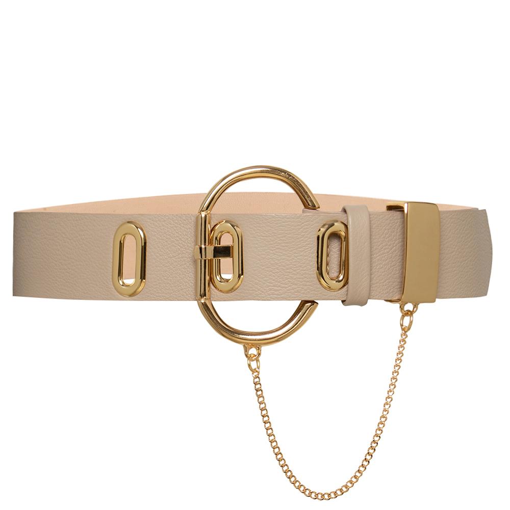 Cinto com Detalhe em Corrente de Couro Bege com Fivela Dourada - 4,5cm - Premium VC - Feminino