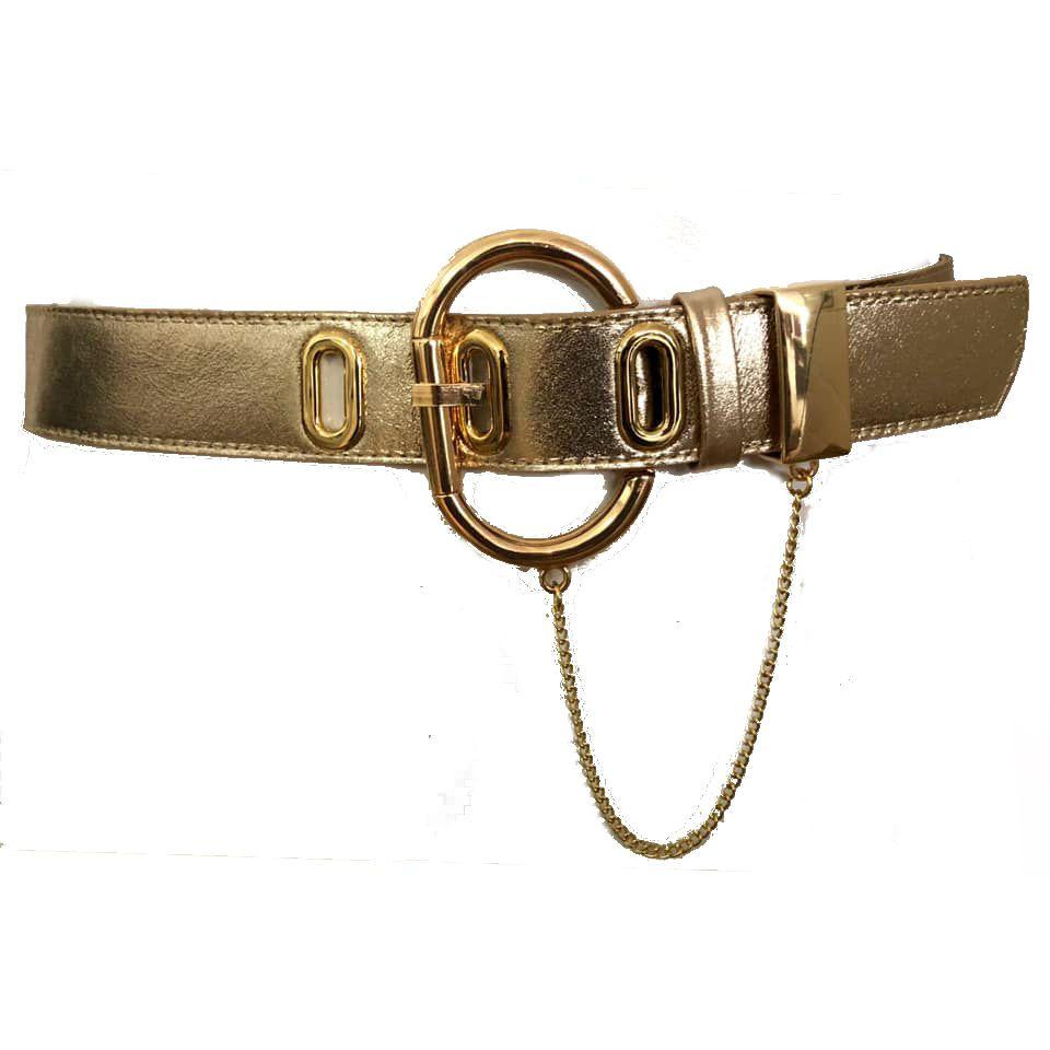 Cinto com Detalhe em Corrente de Couro Dourado Metalizado com Fivela Dourada - 4,5cm - Cintos Exclusivos - Feminino