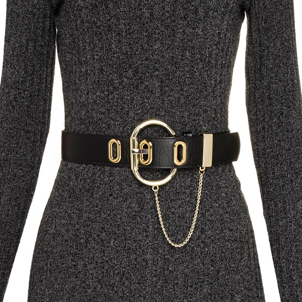 Cinto com Detalhe em Corrente de Couro Preto com Fivela Dourada - 4,5cm - Cintos Exclusivos VC- Feminino