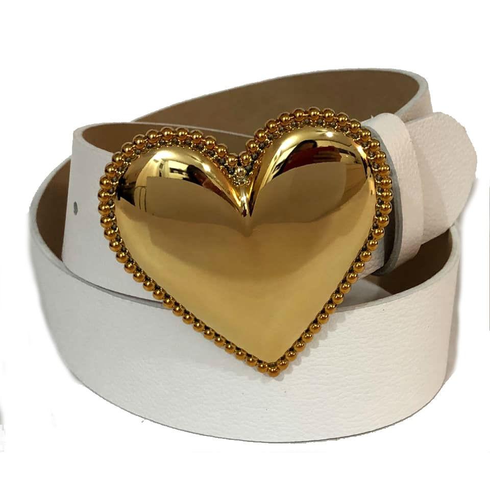 Cinto Coração de Couro Branco  com Fivela Dourada Suave - 4cm - Cintos Exclusivos - Feminino