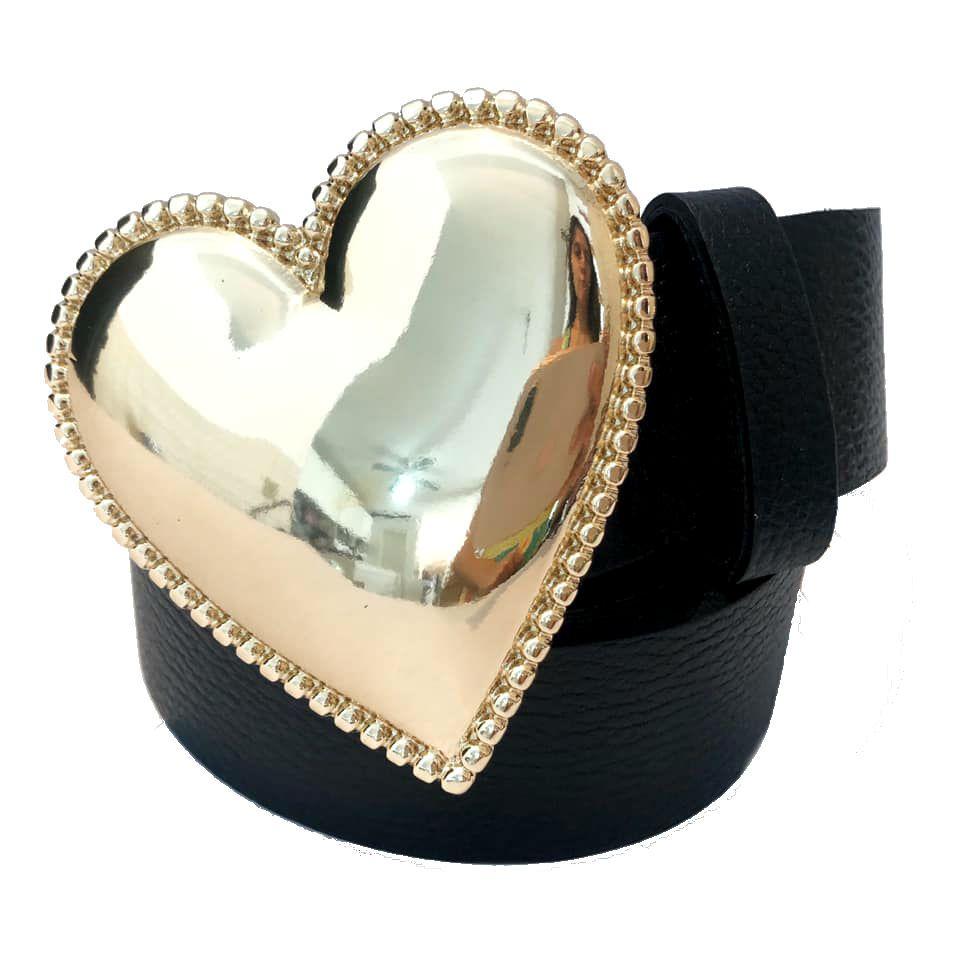 Cinto Coração de Couro Preto com Fivela Dourada Suave - 4cm - Cintos Exclusivos - Feminino