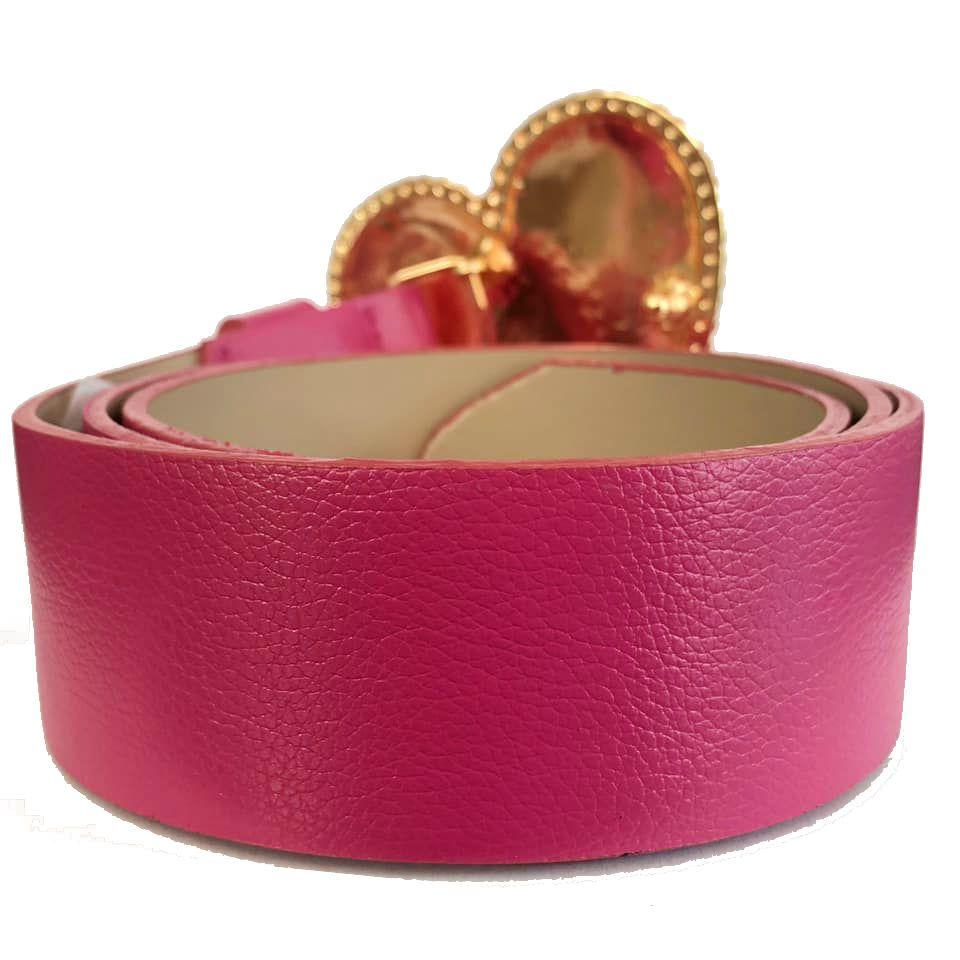 Cinto Coração de Couro Rosa com Fivela Dourada Suave - 4cm - Cintos Exclusivos - Feminino