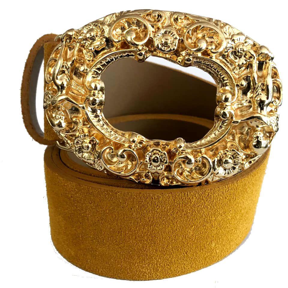 Cinto de Camurça Amarelo com Fivela Anjo Dourada  - 4cm - Feminino