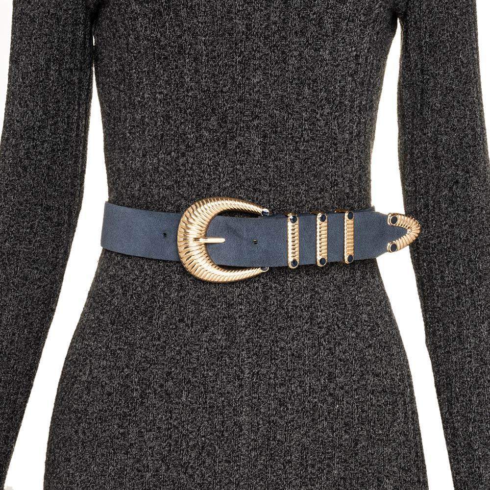 Cinto de Camurça Azul Escuro com Fivela Dourada com Três Passadores  - 4cm - Feminino