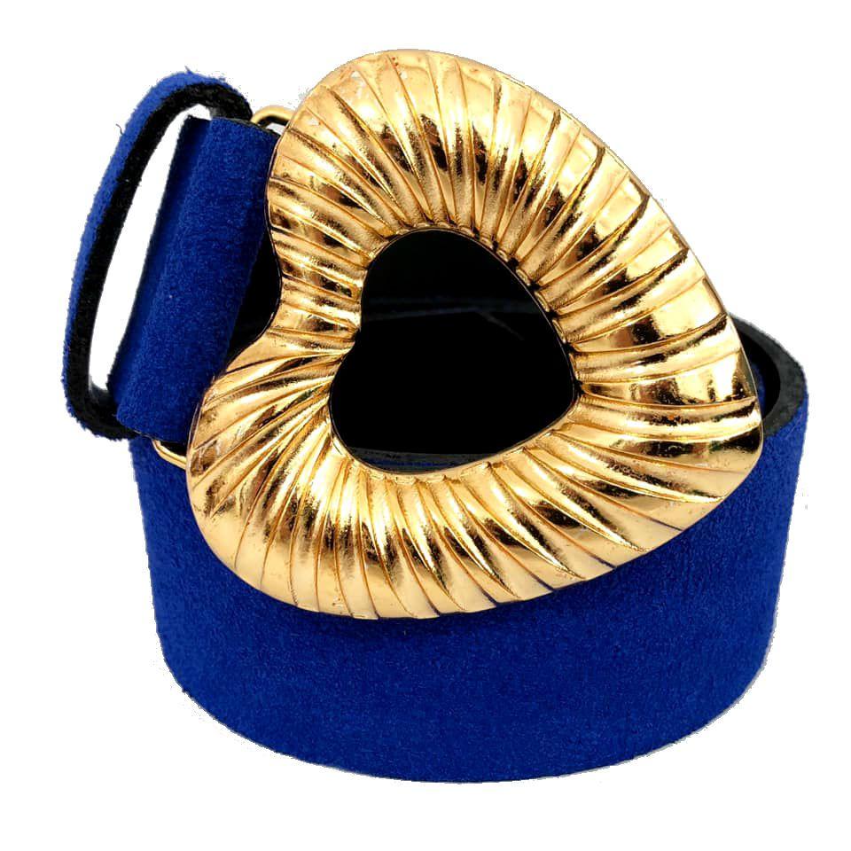 Cinto de Camurça Azul Royal Coração com fivela dourada - 4,0 - cm - Feminino