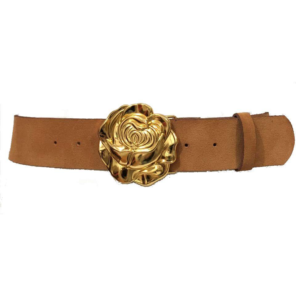 Cinto de Camurça Caramelo com Fivela Rosa Dourada -5 cm - Cintos Exclusivos - Feminino