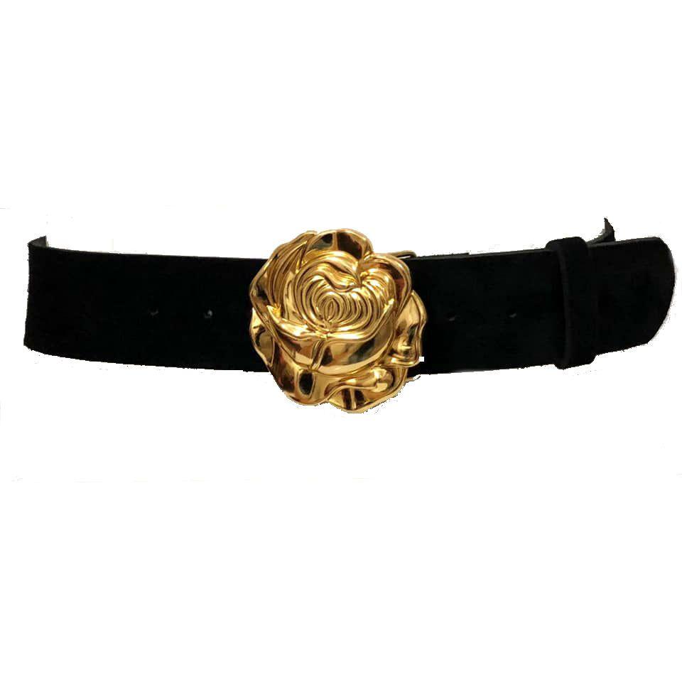 Cinto de Camurça com Fivela Rosa Dourada -5 cm - Cintos Exclusivos - Feminino