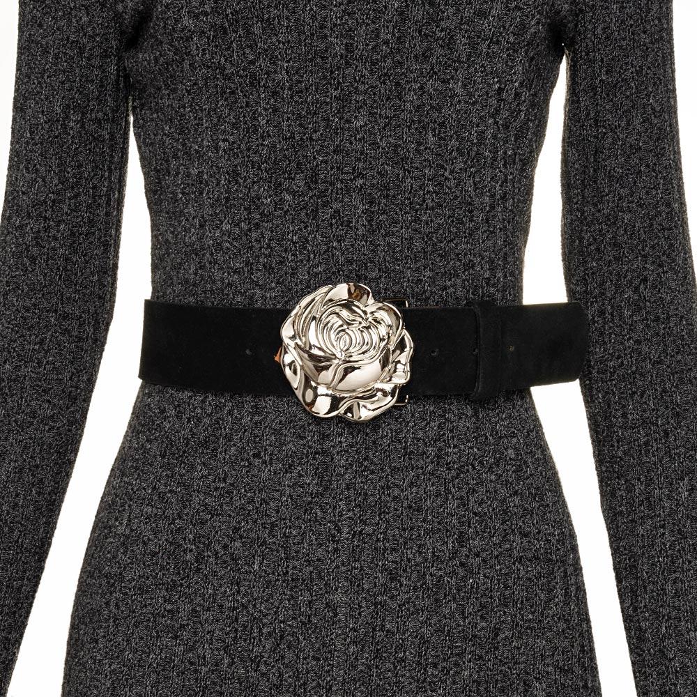 Cinto de Camurça com Fivela Rosa Prata -5 cm - Cintos Exclusivos VC - Feminino