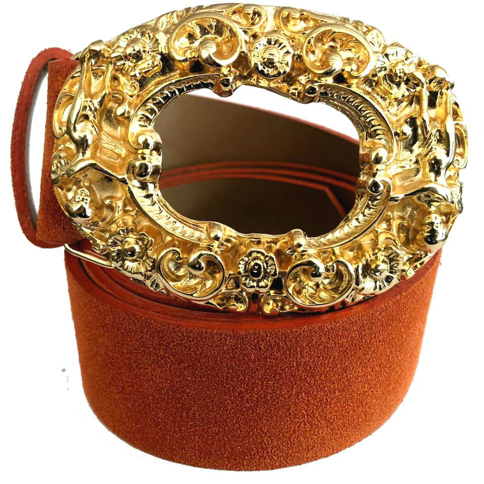 Cinto de Camurça Laranja com Fivela Anjo Dourada  - 4cm -  Feminino