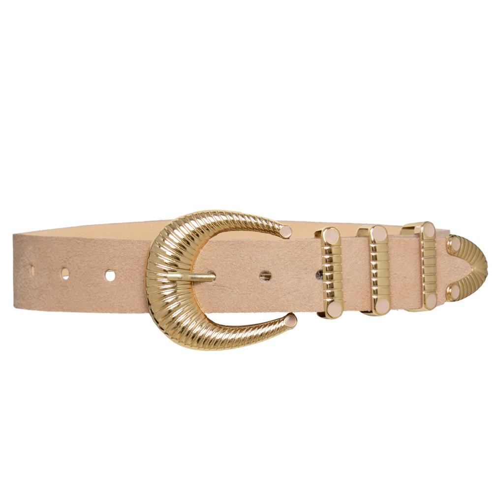 Cinto de Camurça Nude com Fivela Dourada com Três Passadores  - 3,5cm - Feminino - Linha premium