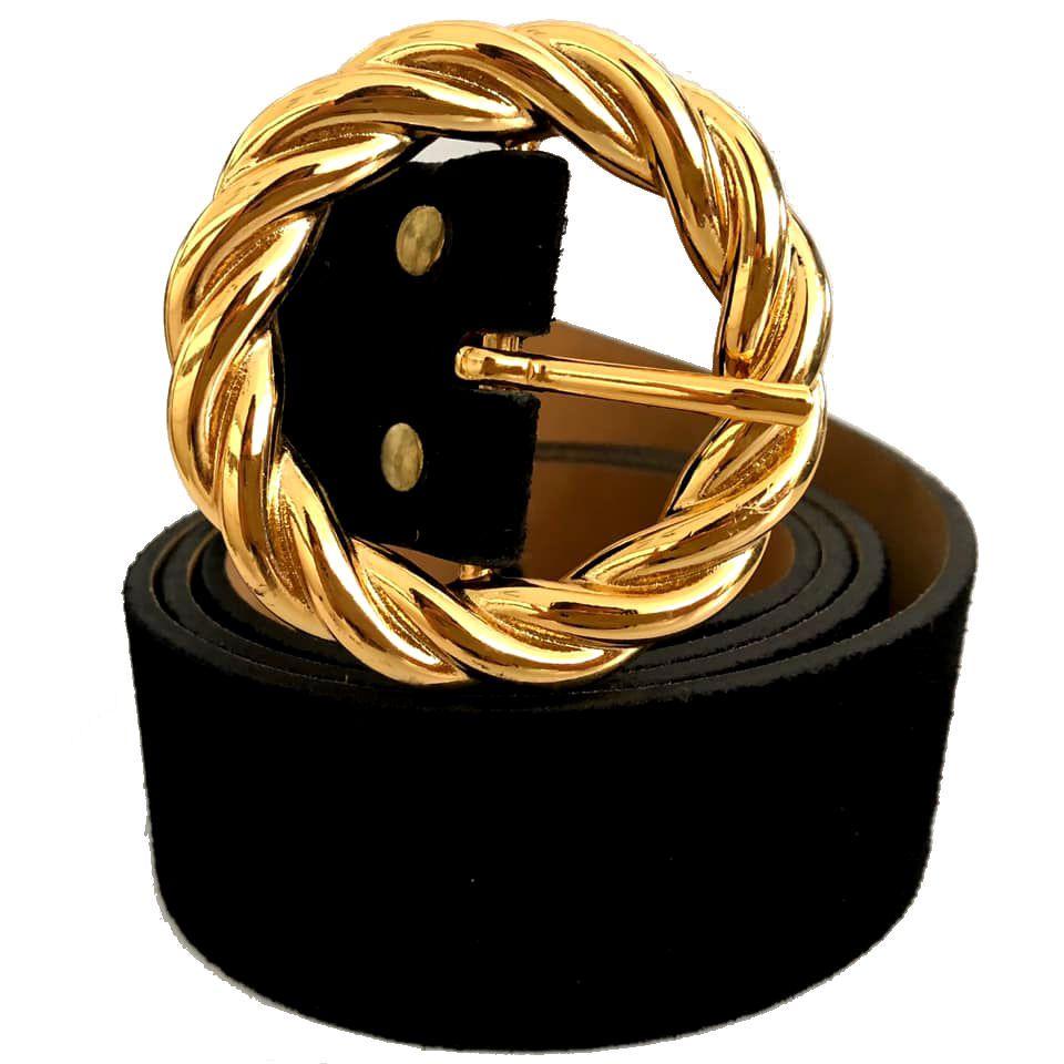 Cinto de Camurça Preto com Fivela Dourada - 4cm - Cintos Exclusivos - Feminino