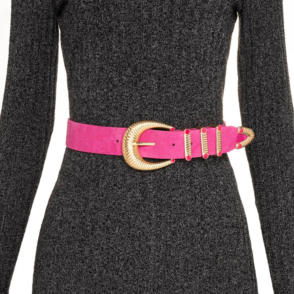 Cinto de Camurça Rosa Pink com Fivela Dourada com Três Passadores - 4cm - Feminino