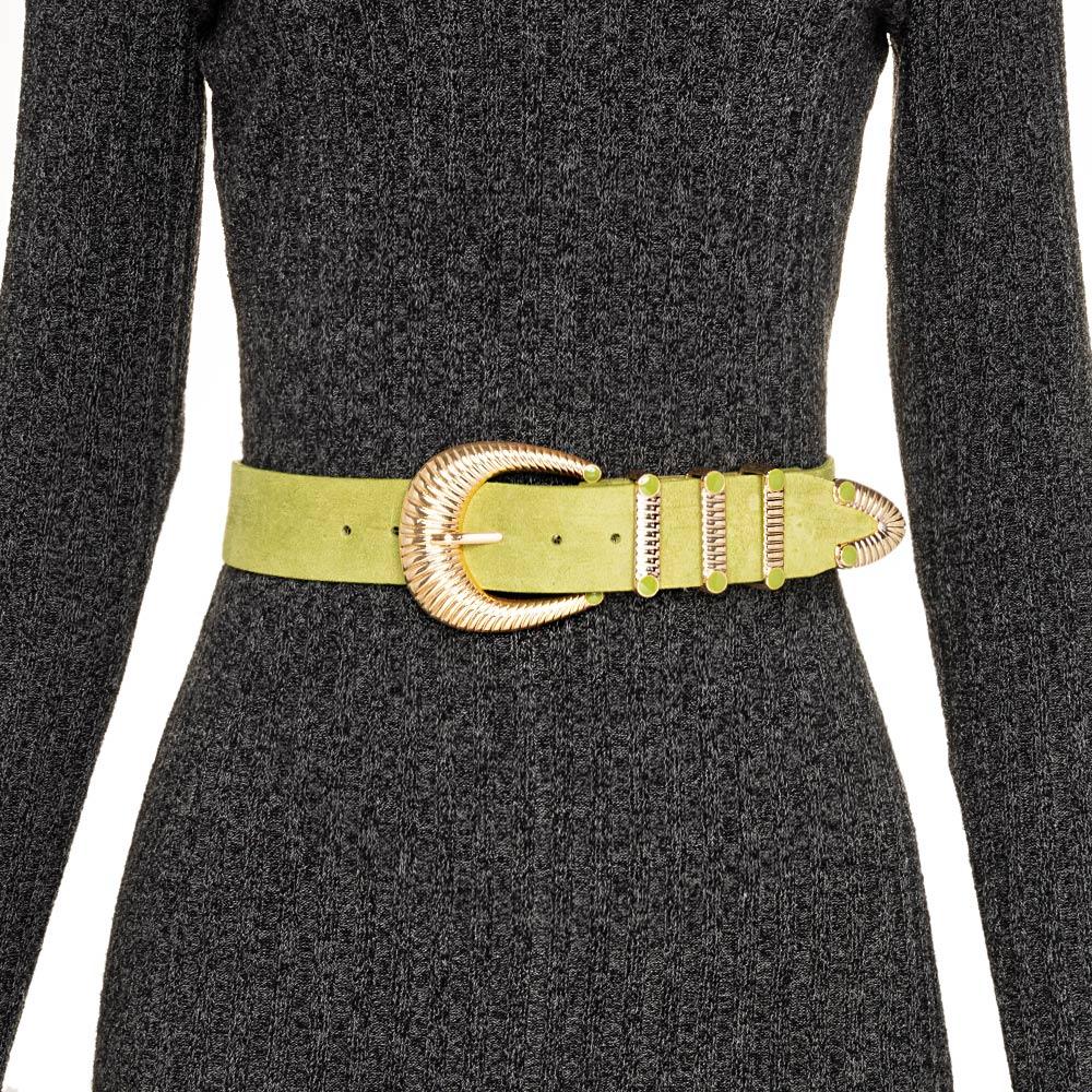 Cinto de Camurça Verde  com Fivela Dourada com Três Passadores   - 4cm - Feminino