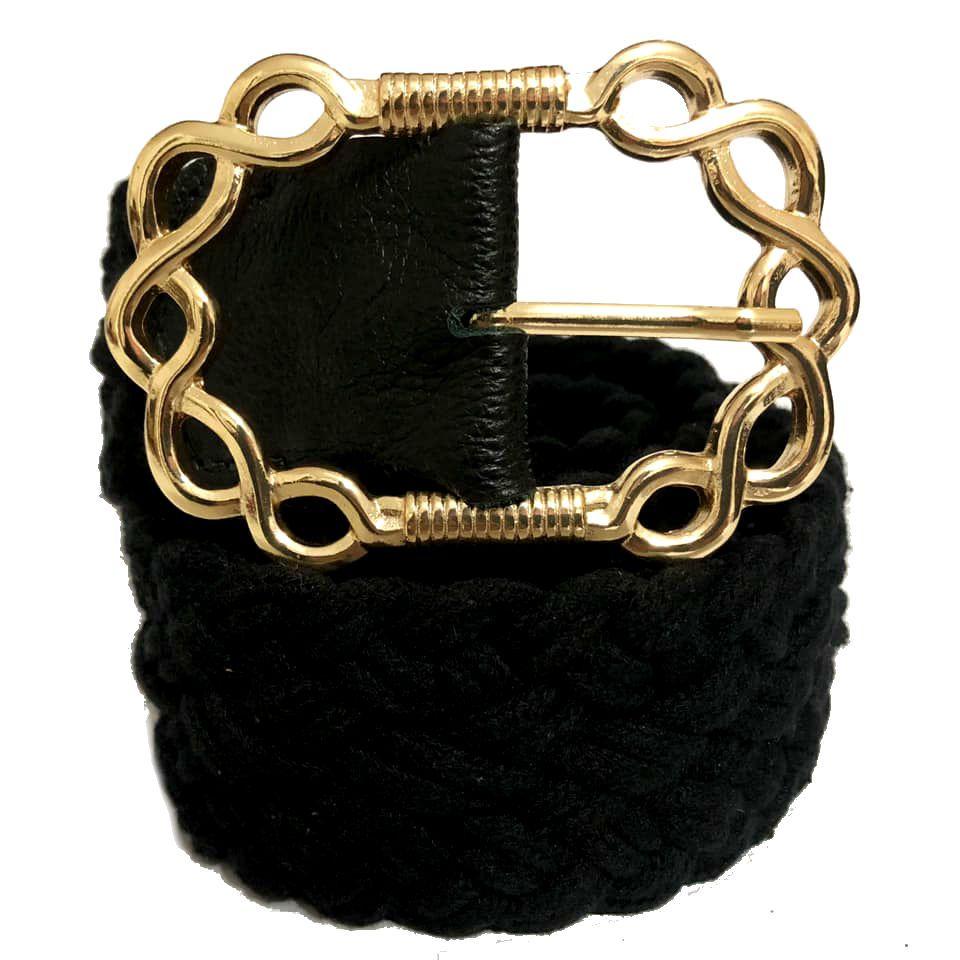 Cinto de Corda Preto com Fivela Dourada  - 4,5 cm- Cintos Exclusivos - Feminino