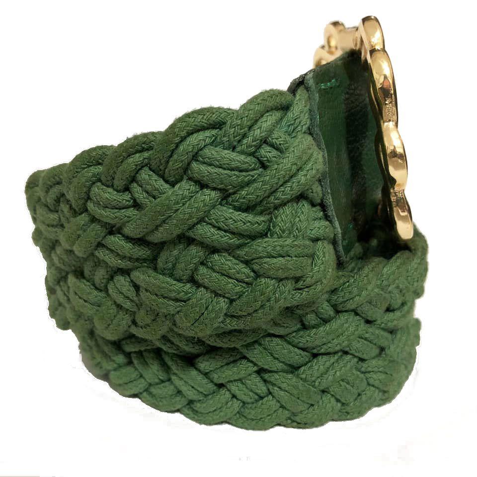 Cinto de Corda Verde com Fivela Dourada  - 4,5 cm- Cintos Exclusivos - Feminino