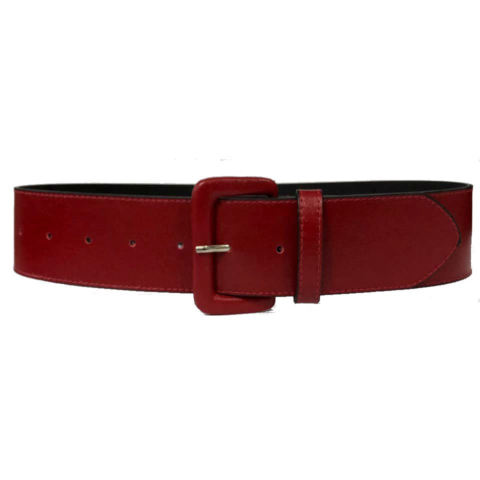 Cinto de Couro Anatômico Vermelho - 5 cm - Cintos Exclusivos - Feminino