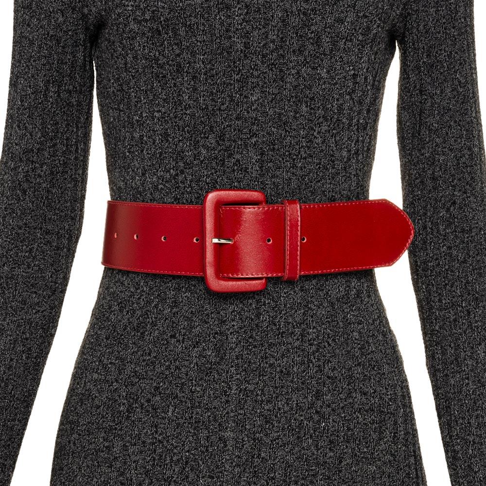 Cinto Largo de Couro Anatômico Vermelho - 6 cm - Cintos Exclusivos VC - Feminino