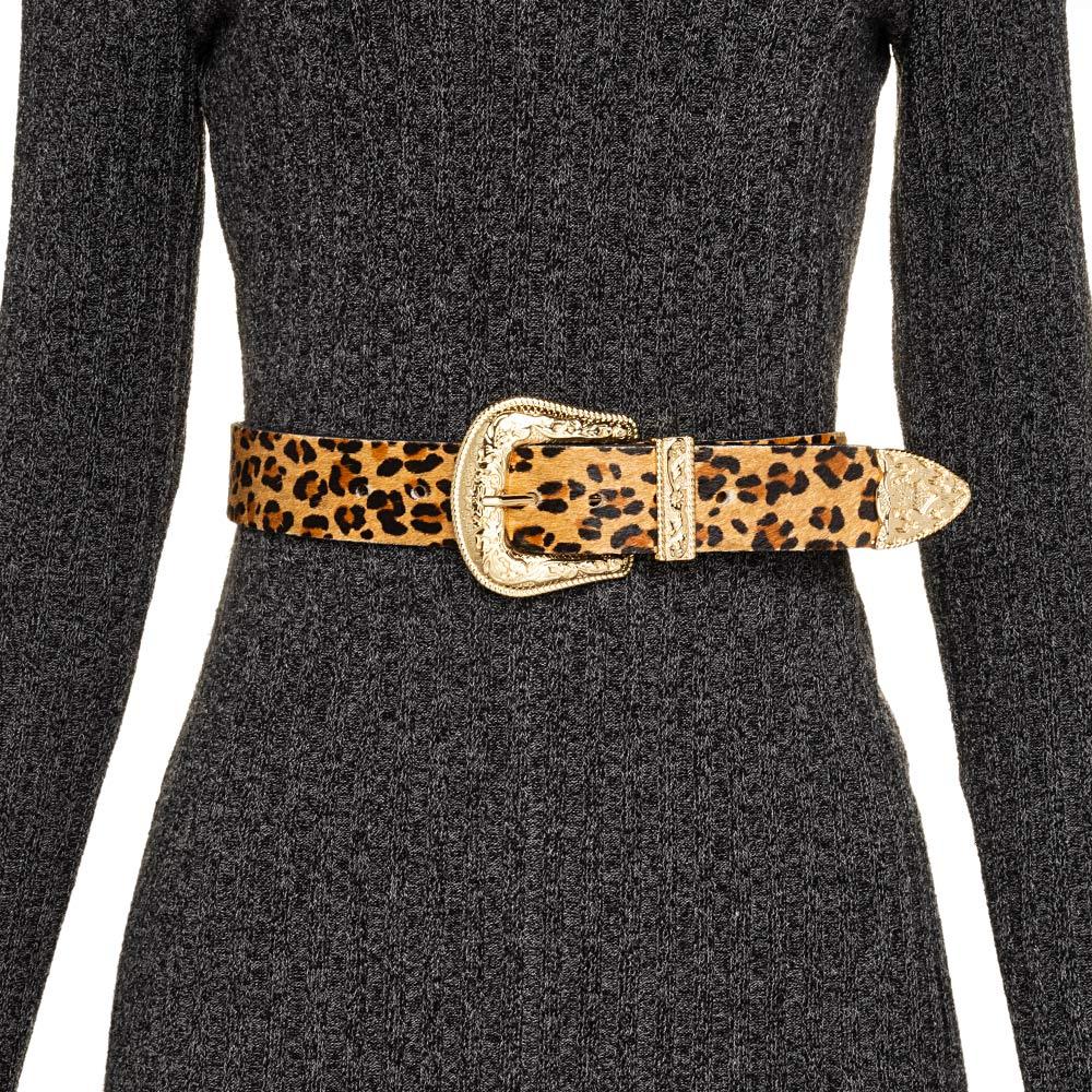 Cinto de Couro  Animal Print Onça com Uma Fivela e Ponteira Dourada Western   - 3,5 cm - Cintos Exclusivos - Feminino