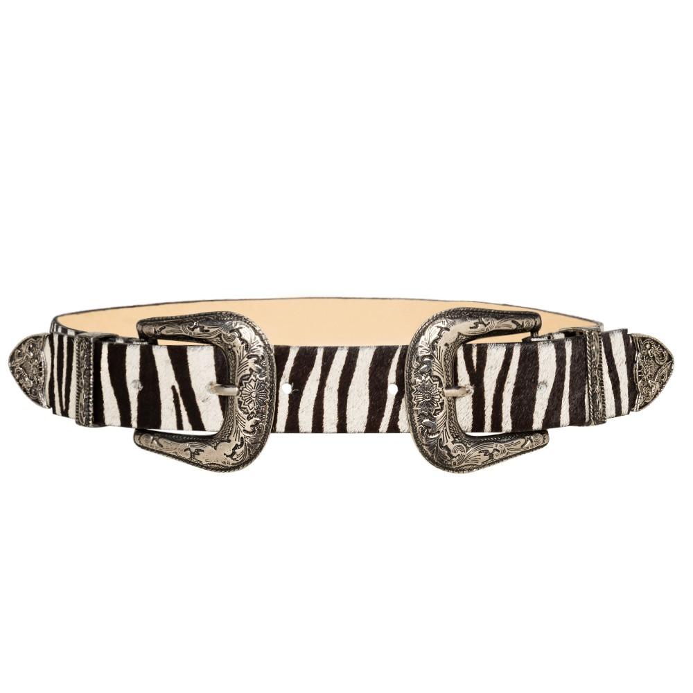 Cinto de Couro Animal Print Zebra  com Duas Fivelas Pratas Western  - 3,5 cm - Linha Premium VC - Feminino