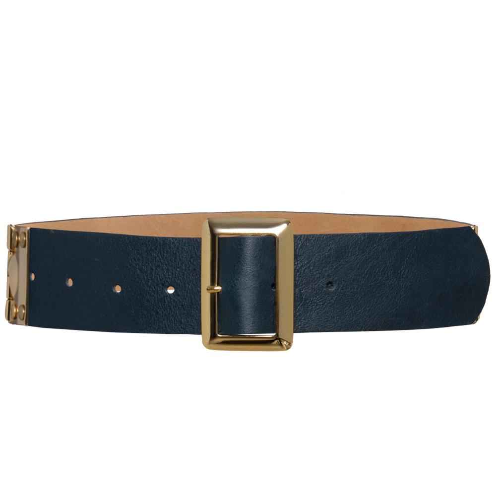 Edição Limitada - Cinto de Couro Azul com fivela dourada - 4,5 - cm - Linha Premium VC - Feminino