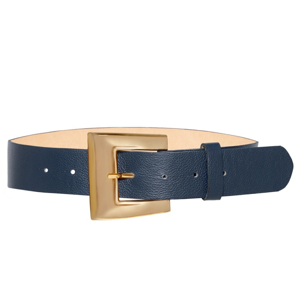 Cinto de Couro Azul  com Fivela  Dourada - 4 cm - Feminino -   Linha Premium VC
