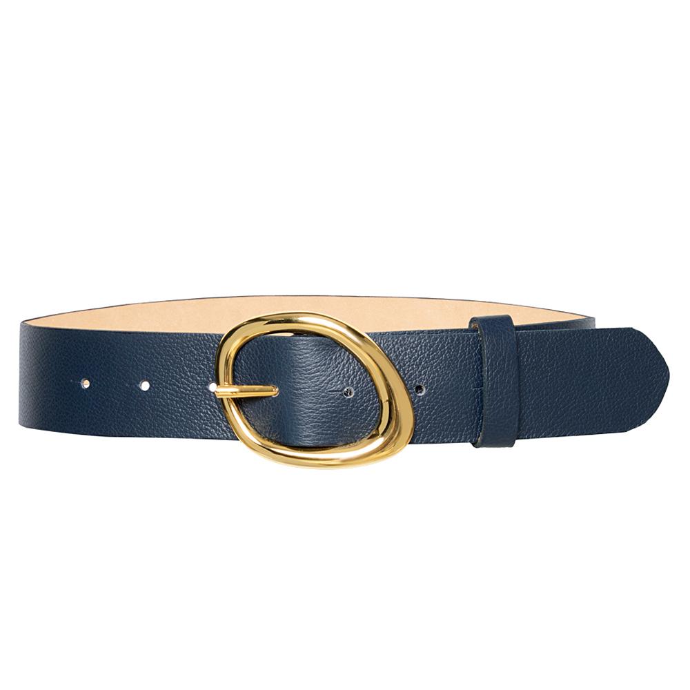 Cinto de Couro Azul  com Fivela  Dourada - 4 cm - Linha Premium VC - Feminino
