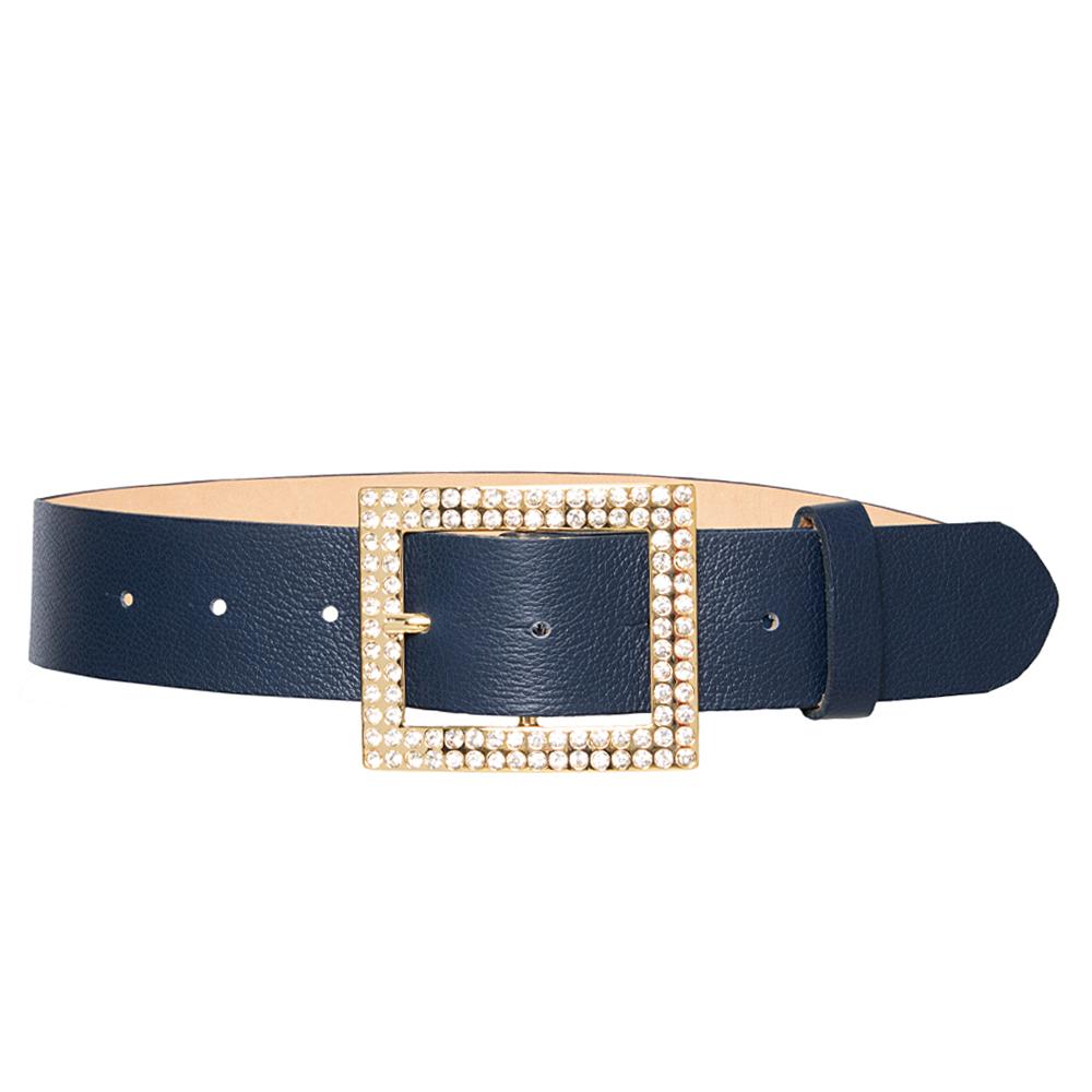Cinto de Couro Azul  com Fivela Dourada com Pedraria - 4 cm - Feminino -   Linha Premium VC