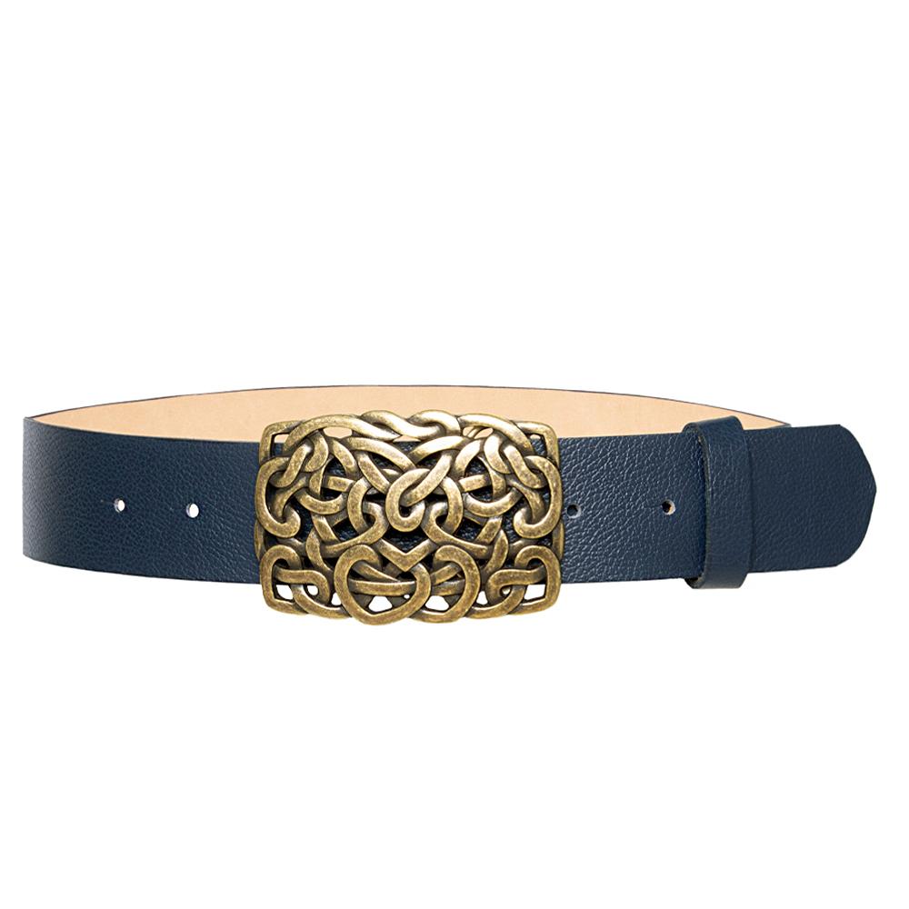 Cinto de Couro Azul  com Fivela  Ouro Velho - 4 cm - Feminino -   Linha Premium VC
